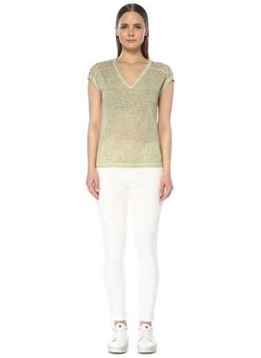 NetWork Kadın 1075208 Basic Fit Garnili T-shirt Yeşil
